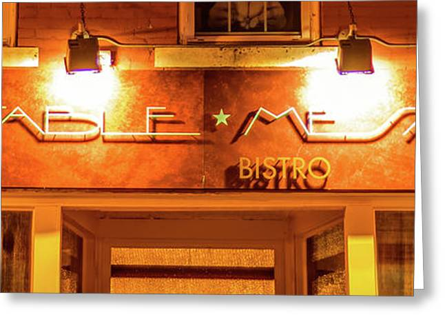 Table Mesa Bistro On The Bentonville Square 3 X 1 Greeting Card by Gregory Ballos
