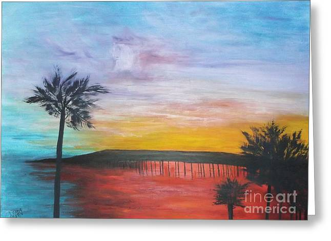 Greeting Card featuring the painting Table On The Beach From The Water Series by Donna Dixon