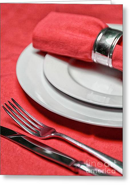 Table Setting In Red Greeting Card
