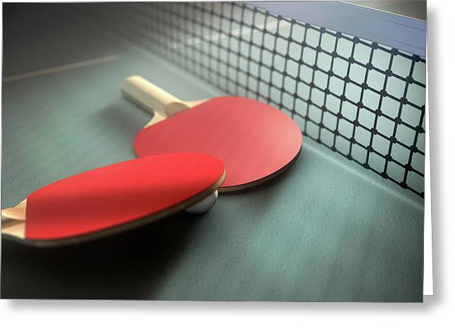 Table Tennis Table And Paddles Greeting Card