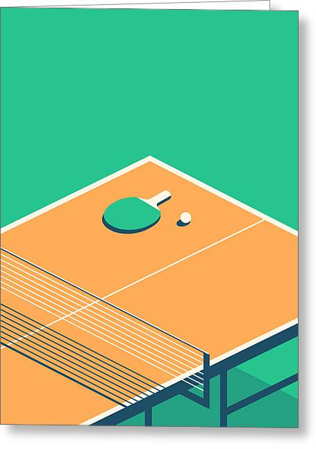 Table Tennis Table Isometric - Green Greeting Card by Ivan Krpan