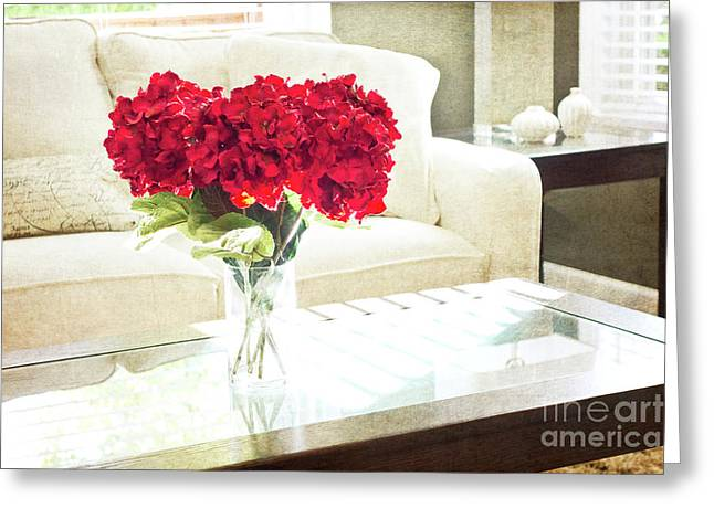 Table With Red Flowers Greeting Card