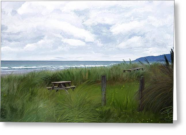 Tables By The Ocean Greeting Card by Debra Baldwin