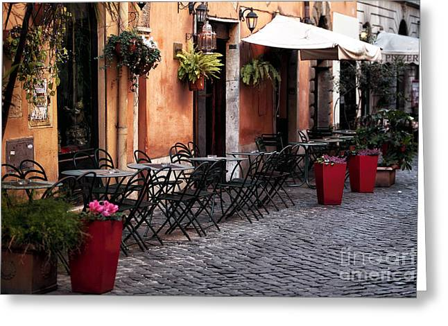 Italian Restaurant Greeting Cards - Tables in the Alley Greeting Card by John Rizzuto