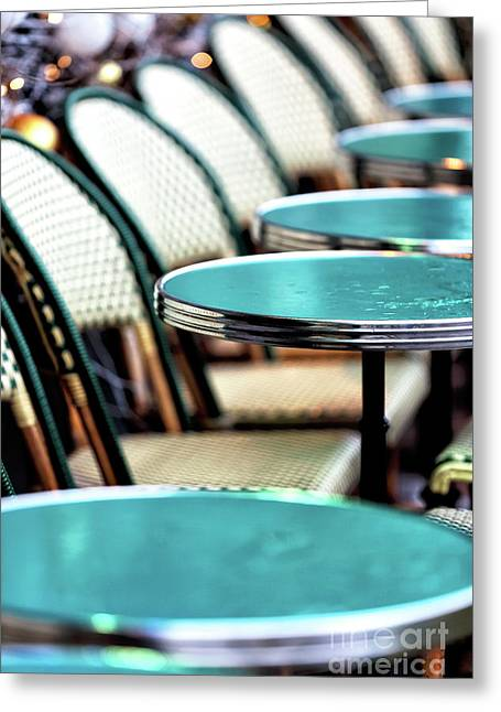 Tables In The Latin Quarter Greeting Card by John Rizzuto