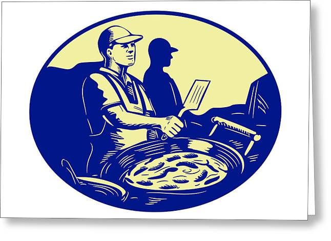 Taco Chef Cook Man Side Oval Retro Greeting Card