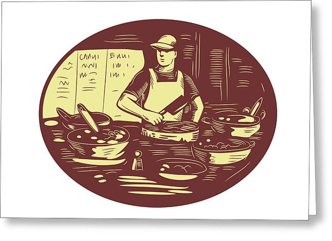 Taco Cook In Food Stall Oval Retro Greeting Card