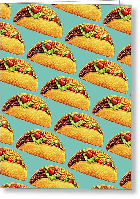 Taco Pattern Greeting Card by Kelly Gilleran