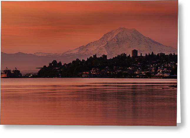 Tacoma Bay Mount Rainier Sunrise Greeting Card by Mike Reid