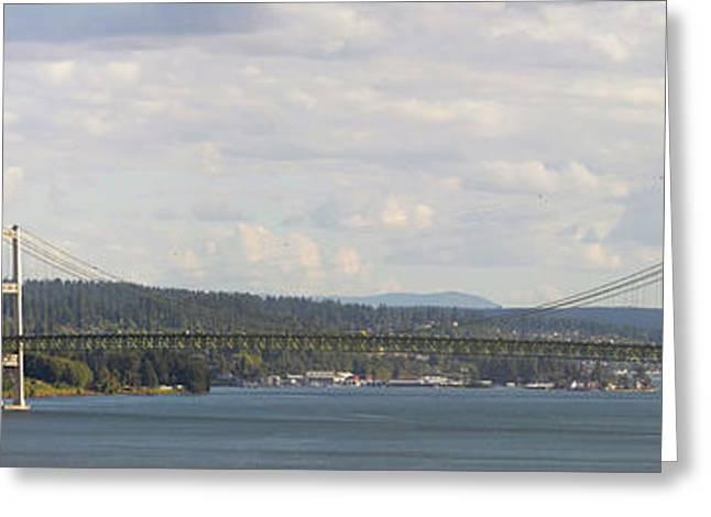 Tacoma Narrows Bridge Panorama Greeting Card