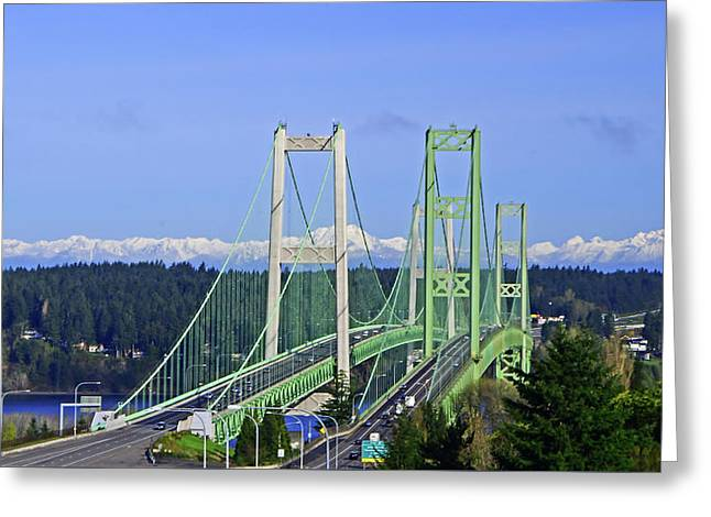 Tacoma Narrows Bridge With Olympic Mountains Greeting Card