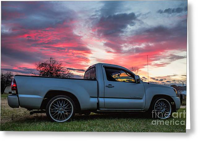 Toyota Tacoma Trd Truck Sunset Greeting Card