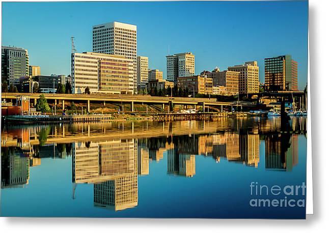 Tacoma's Waterfront,washington Greeting Card