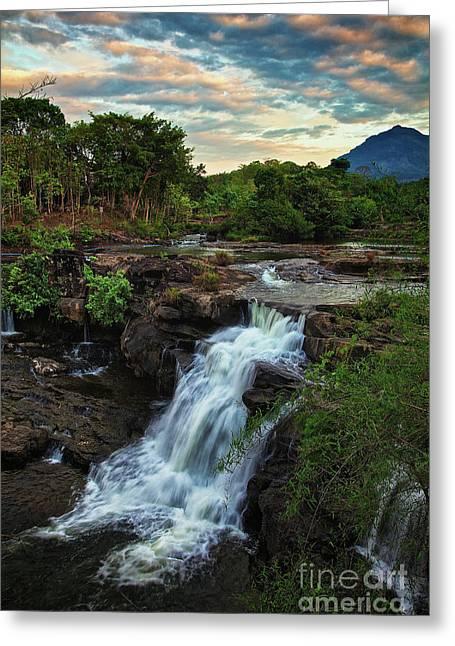 Tad Lo Waterfall, Bolaven Plateau, Champasak Province, Laos Greeting Card by Sam Antonio Photography