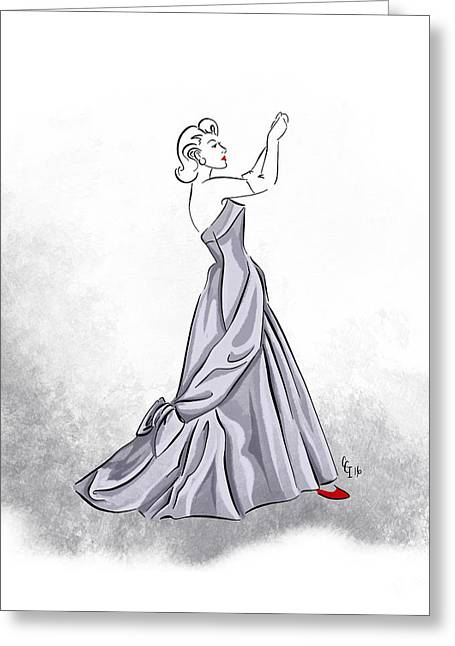 Greeting Card featuring the digital art Taffeta Gown by Cindy Garber Iverson