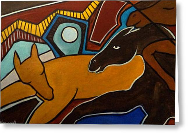 Taffy Horses Greeting Card by Valerie Vescovi