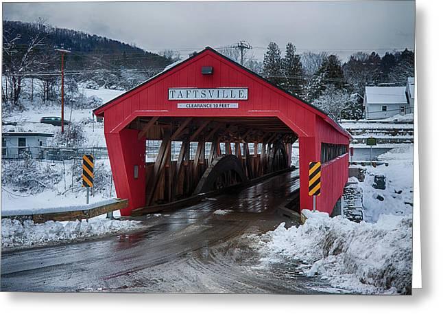 Taftsville Covered Bridge In Winter Greeting Card