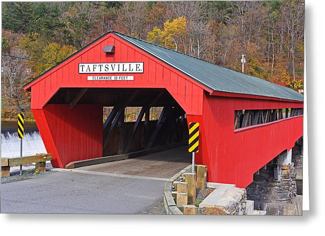 Taftsville Vermont Red Covered Bridge Autumn Waterfall Greeting Card