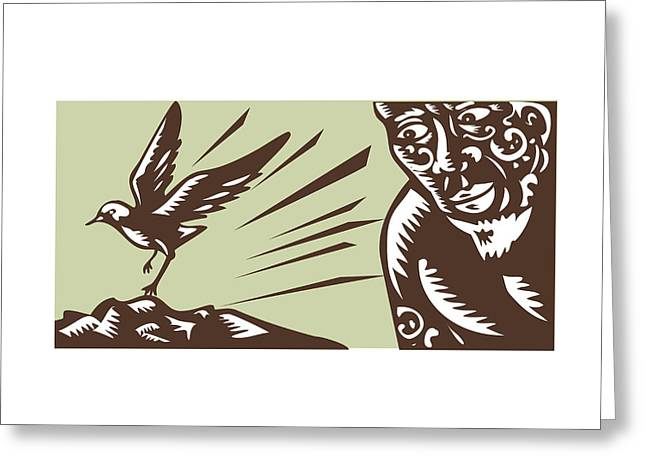 Tagaloa Looking At Plover Bird Woodcut Greeting Card by Aloysius Patrimonio