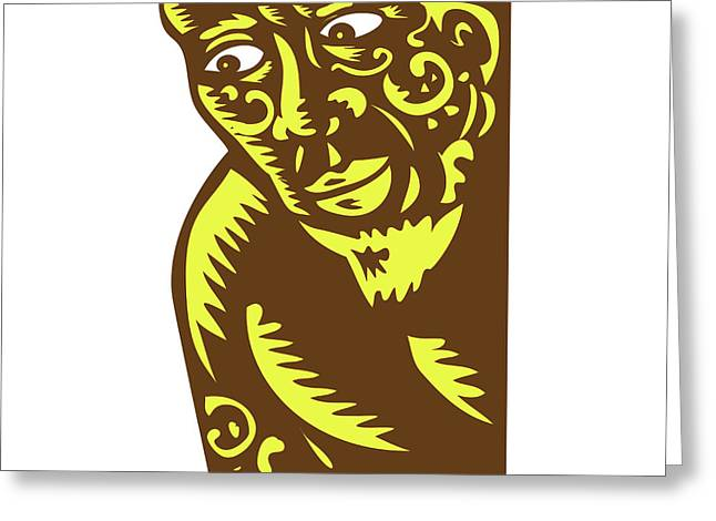 Tagaloa Peeking Woodcut Greeting Card by Aloysius Patrimonio
