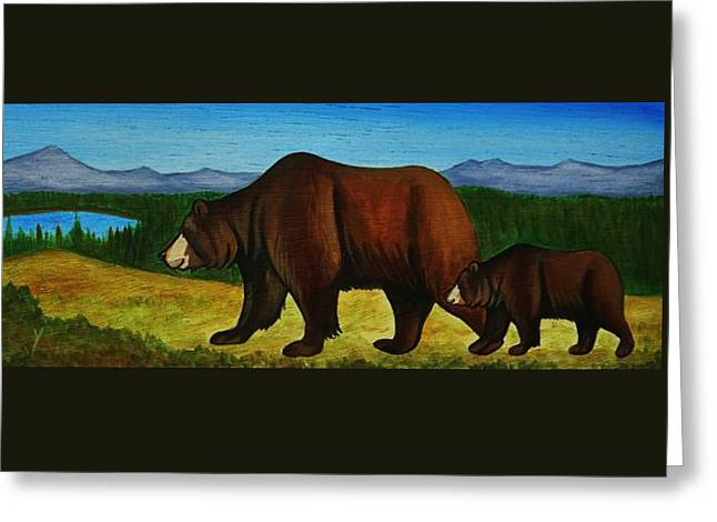 Taggart Lake Bears Greeting Card by Lucy Deane