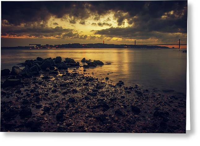 Tagus Evening Greeting Card by Carlos Caetano