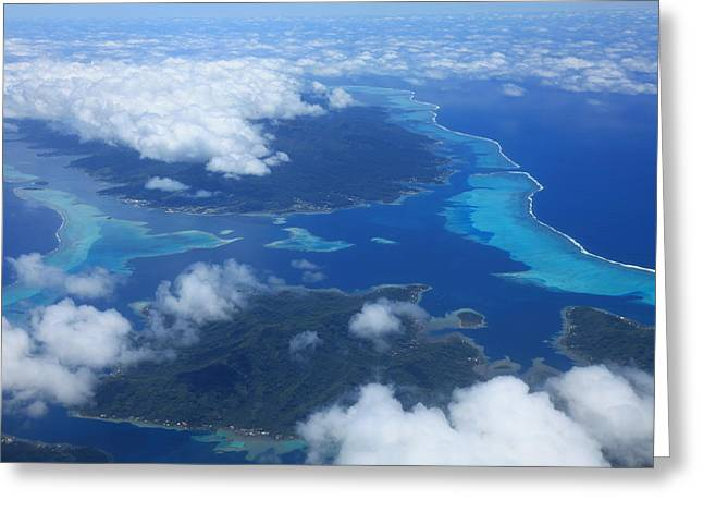 Tahiti Reefs From The Air Greeting Card by Owen Ashurst