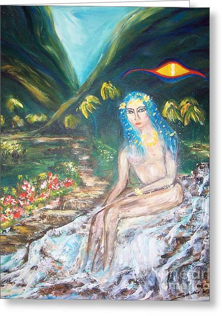 Tahitian Princess Greeting Card by Mary Sedici
