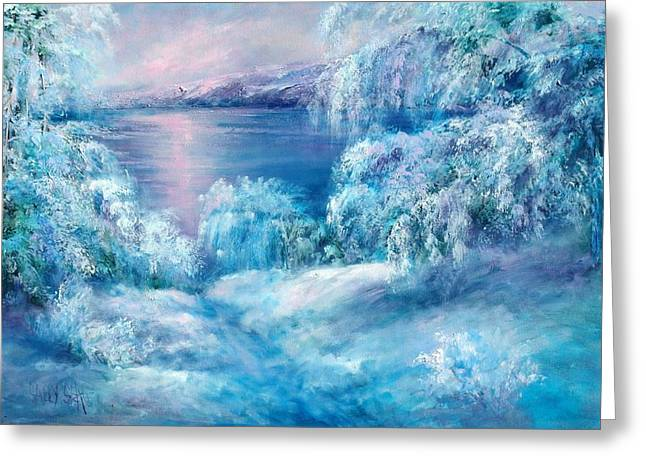 Tahoe Winter Greeting Card by Sally Seago