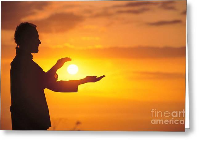 Tai Chi At Sunset Greeting Card by Joe Carini - Printscapes