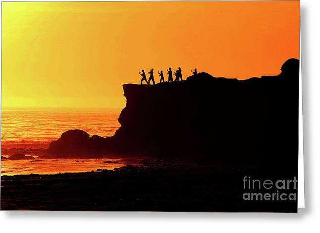 Tai Chi Sunset - Santa Cruz - California Greeting Card by Christopher Christoforou Shiny Soul