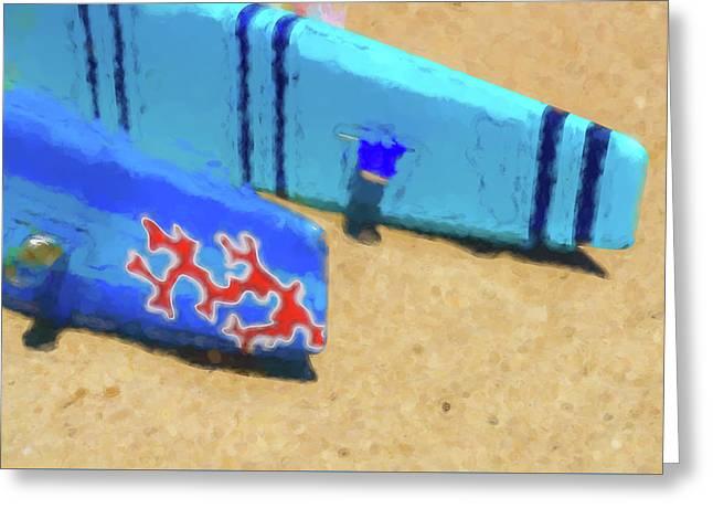 Tail Fins Sea Kayak Watercolor Greeting Card