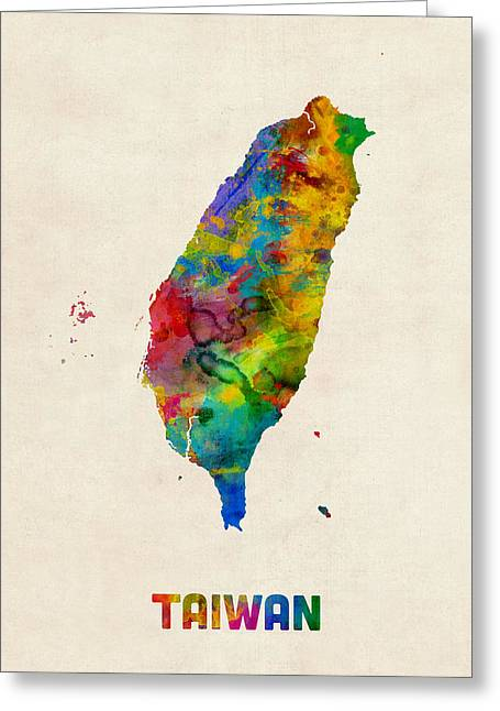 Taiwan Watercolor Map Greeting Card by Michael Tompsett