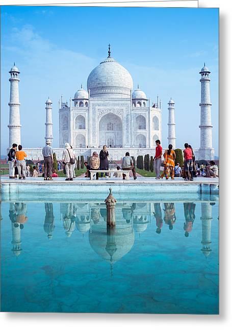 Taj Mahal Crowd Greeting Card by Nila Newsom