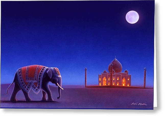 Taj Mahal Elephant Greeting Card by Robin Moline