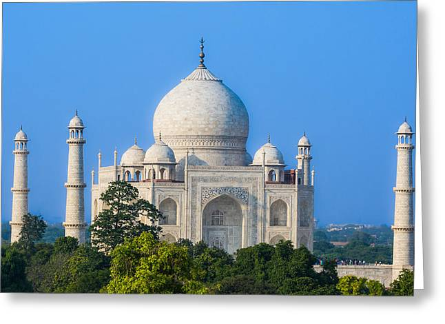 Taj Mahal From A Distance Greeting Card by Nila Newsom