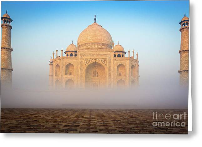 Taj Mahal In The Mist Greeting Card by Inge Johnsson
