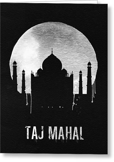 Taj Mahal Landmark Black Greeting Card