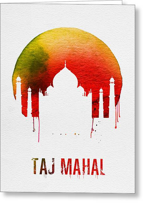 Taj Mahal Landmark Red Greeting Card