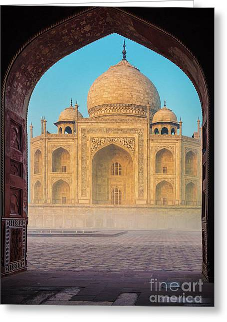 Taj Mahal Though An Arch Greeting Card