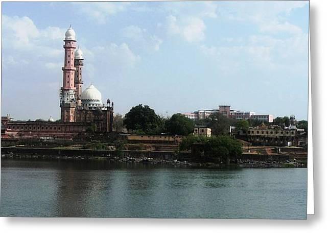 Tajul Masajid Panorama Greeting Card by Mohammed Nasir