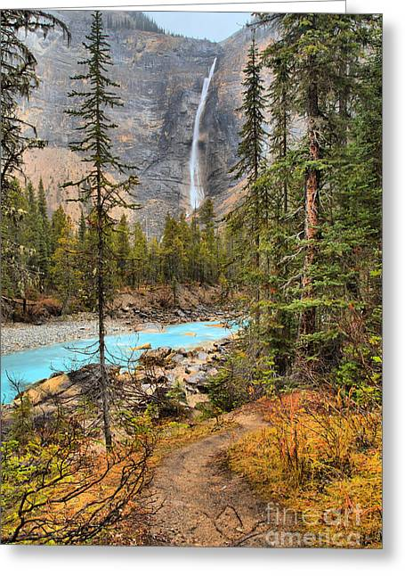 Greeting Card featuring the photograph Takakkaw Falls Fall Portrait by Adam Jewell
