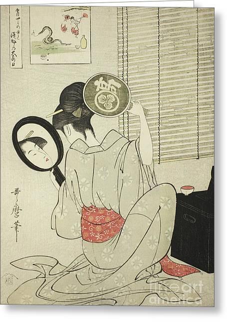 Takashima Ohisa Greeting Card by Kitagawa Utamaro