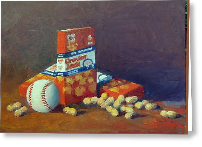Take Me Out To The Ball Game Greeting Card by Dianne Panarelli Miller