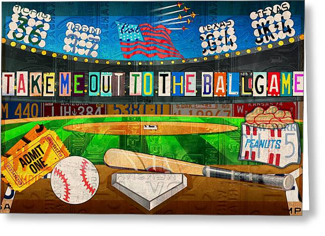 Take Me Out To The Ballgame Recycled Vintage License Plate Art Collage Greeting Card by Design Turnpike