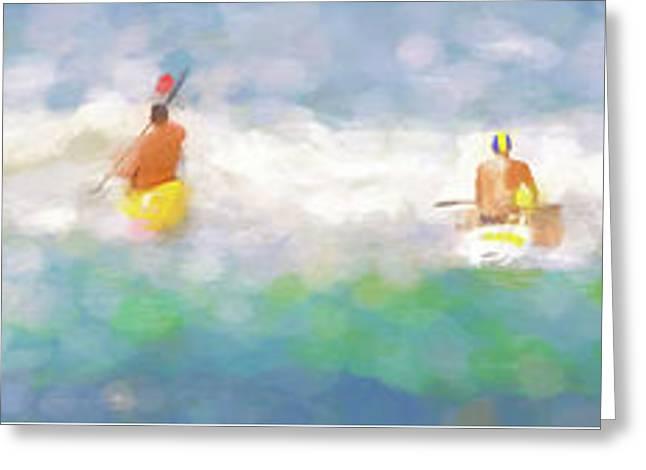 Take Your Marks Sea Kayak Racing Watercolor Panorama Greeting Card
