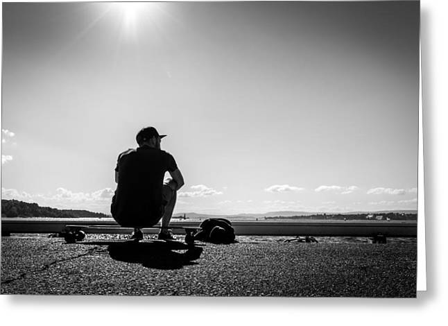 Taking A Break - Oslo, Norway - Black And White Street Photography Greeting Card