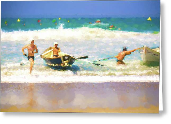 Taking The Lead Lifeboat Race Watercolor Greeting Card