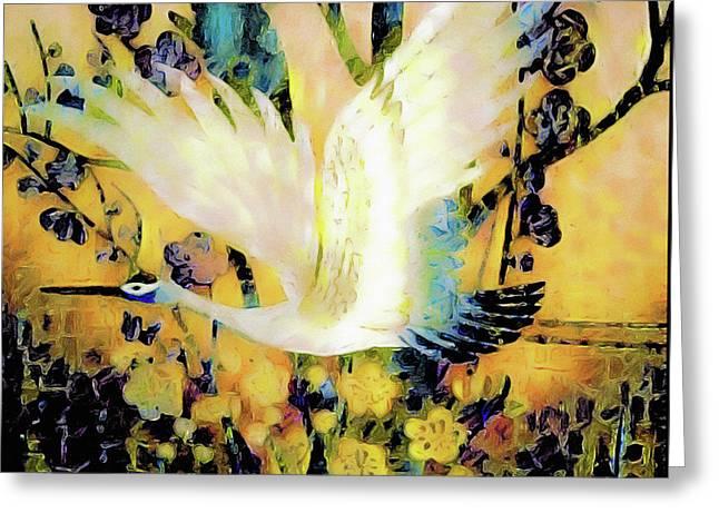 Taking Wing Above The Garden - Kimono Series Greeting Card