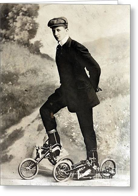 Takypod, Pedaled Roller Skates, 1910 Greeting Card by Science Source